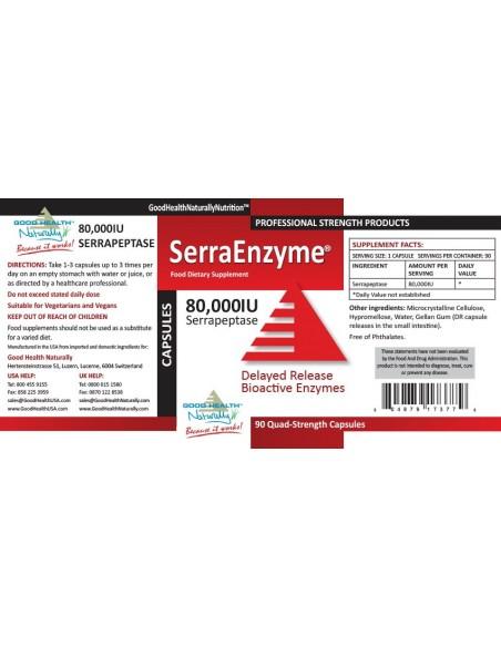 Serra Enzyme® 80,000IU - 90 Capsules - Buy 3 Get 1 FREE Home