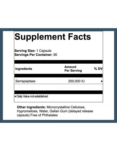 Serra Enzyme™ 250,000IU Maximum Strength - 90 Capsules - Buy 3 Get 1 FREE Serrapeptase