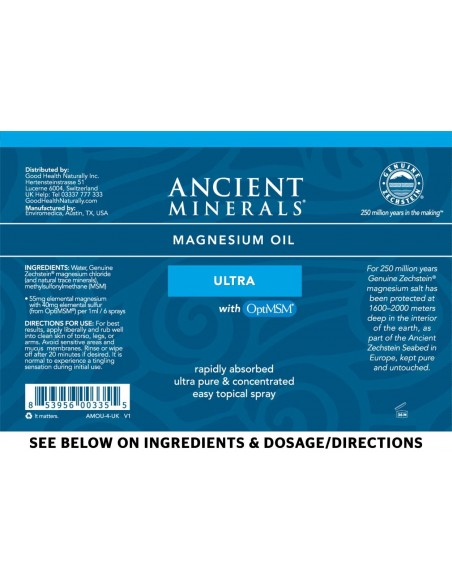 Ancient Minerals - Professional Strength - Magnesium Oil Ultra 4oz Spray Magnesium
