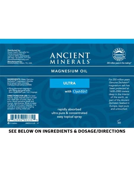 Ancient Minerals - Professional Strength - Magnesium Oil Ultra 8oz Spray Magnesium