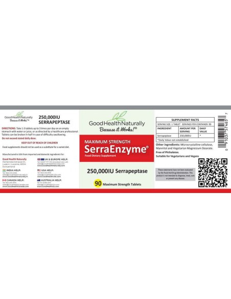 SerraEnzyme® 250,000iu Serrapeptase Tablets (90s) Home