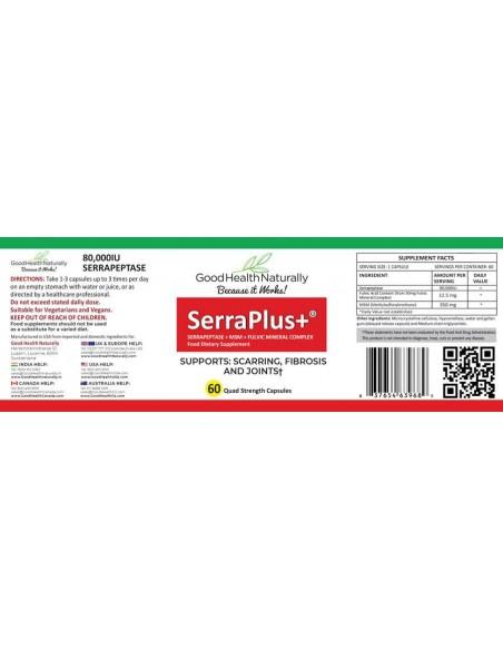 SerraPlus+™ 80,000IU - 60 Serrapeptase Capsules Serrapeptase