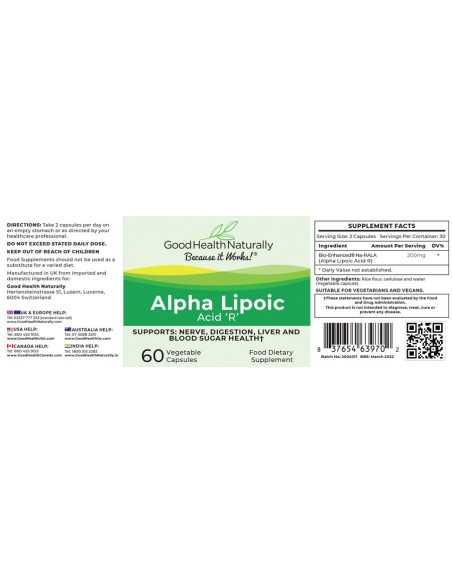 Alpha Lipoic Acid R Blood Sugar