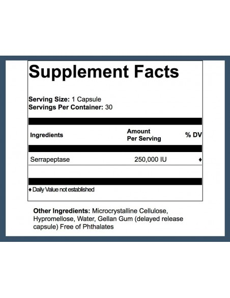 Serra Enzyme® 250,000IU Maximum Strength Serrapeptase- 30 Capsules Serrapeptase