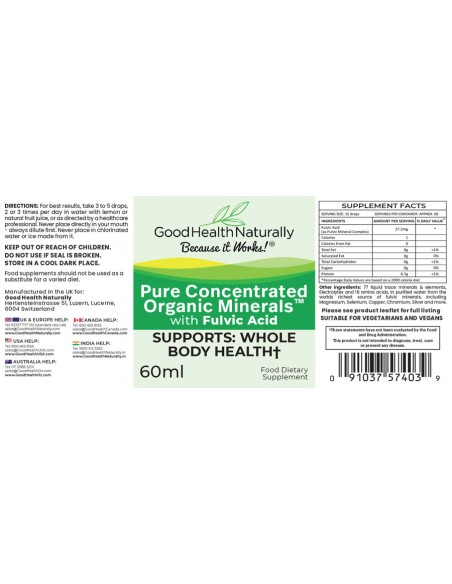 Pure Concentrated Organic Minerals™ Liquid A-Z Product List